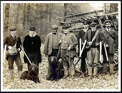 Flat Coated Retriever Shooting Party Men Guns Dogs Lovely Old Style Print Poster