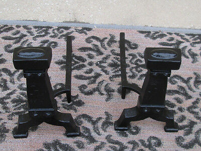 54310   Pair Iron Mission Fireplace Andirons