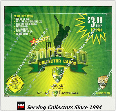 2009-10 Select Cricket Trading Cards Factory Box (36 Packs)