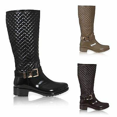 5285587908d Womens Ladies Wellies Wellington Rain Knee High Welly Boots Shoes Size