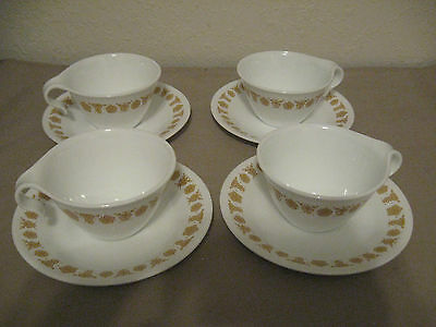 Vintage Corelle Lot of 4 Coffee Mugs & Saucers Hook Handle Gold Butterfly EUC!!
