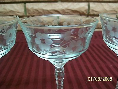 "LIBBEY ETCHED ELEGANT FLORAL 6"" TALL STEMWARE SET OF FOUR"