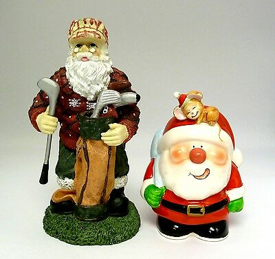 HOLIDAY - STANDING SANTA CLAUS FIGURINES, LOT OF 2 (1 IS A COIN BANK) - PRISTINE