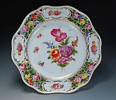 GORGEOUS & MINT ANTIQUE RETICULATED CARL THIEME DRESDEN HAND PAINTED PLATE!