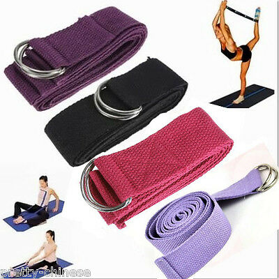 Yoga Stretch Strap Cotton D-Ring Belt Figure Waist Leg Fitness Exercise Gym