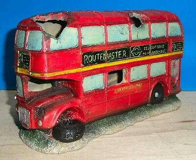 London Red Bus Aquarium Ornament Fish Tank Decoration Bowl New