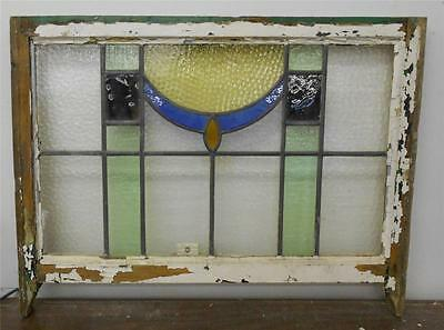 "EDWARDIAN ENGLISH LEADED STAINED GLASS  SASH WINDOW Abstract Design 28.75"" x 19"""