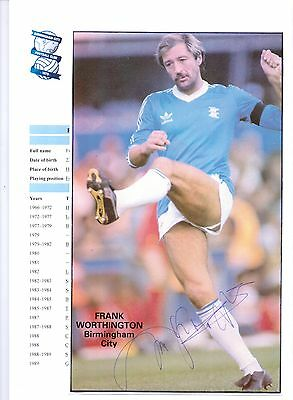 Frank Worthington Birmingham City 1979-1982 Original Hand Signed Picture Cutting