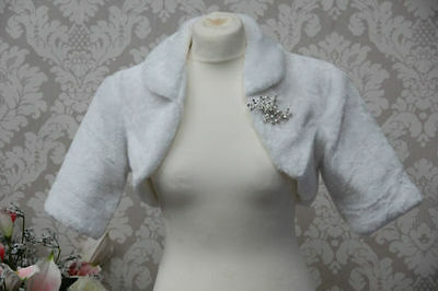 Faux Fur Jacket Bolero Shrug Short Sleeve Wedding Bridal Bridesmaid With Brooch