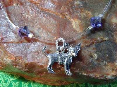 """CHIHUAHUA Dog Crystal Illusion ANKLET Made/w Swarovski Crys 12"""" Purple PLUS SIZE"""