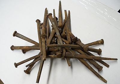 """100 (5 lbs) ANTIQUE (1800'S)  REAL WROUGHT IRON SQUARE 4.5"""" LONG NAILS"""