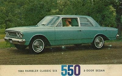 1963 Rambler Classic Six 550 2-Door Sedan ORIGINAL Factory Postcard my0901