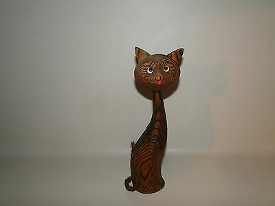 "Vintage Wooden Cat Carved Wood Spiral Japan 1950's, Wony Ltd, 9 3/4"" Tall"