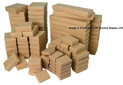 Lot of 5 20 50 100 Kraft Cotton Filled Jewelry Packaging Gift Boxes Choose Size