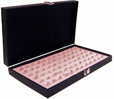Grained Leatherette Wood Solid Top Lid Pink 72 Ring Jewelry Display Box Case