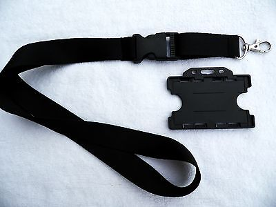Black Lanyard with Side Release Buckle & Black Double Sided ID Card Holder