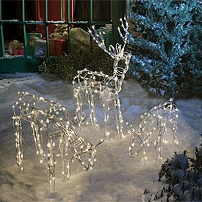 ANIMATED 3 PC LIGHTED DEER REINDEER FAMILY CHRISTMAS OUTDOOR YARD DECORATION NEW