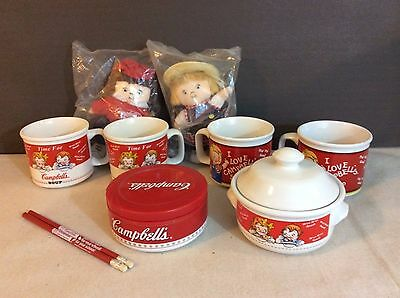 Lot of Collectible Campbell's Soup Cups Mugs Bowls Dolls Etc.