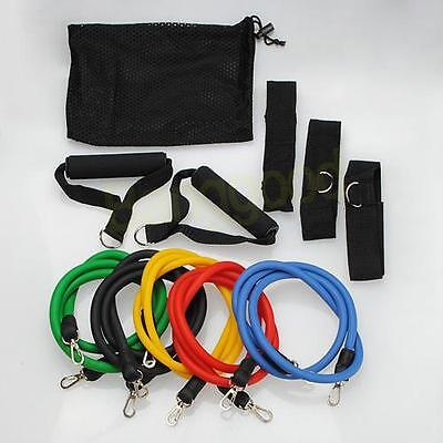11pcs Exercise Latex Resistance bands Tube Yoga fitness abs Stretch workout gym