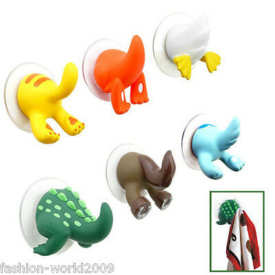 Animal Tails Baby Shower Cloth Towel Bathroom Suction Cup Hooks Hangers Suckers