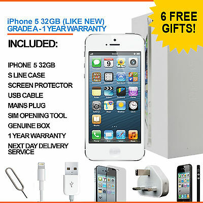 Apple iPhone 5 32GB White Unlocked - Refurbished Grade A + Accessories