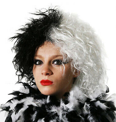 Womens Evil Dog Lady Wig Black White Villain Book Character Fancy Dress Costume