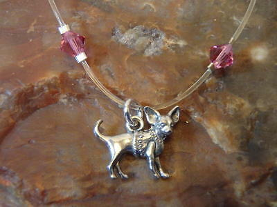 """CHIHUAHUA Pink Crystal Floating Illusion ANKLET w/ Swarovski Cr 12"""" PLUS SIZE"""