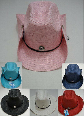 90 Colored Straw Cowboy Hats Cowgirl Western Hat Snaps BULK WHOLESALE LOT