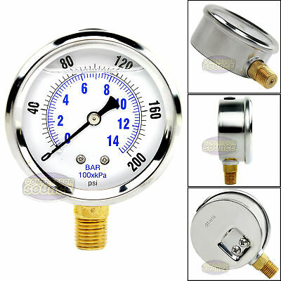 "Quality Liquid Filled 2.5"" 200 PSI Air Pressure Gauge Lower Mnt / Side Mount"