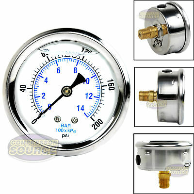 "Liquid Filled 200 PSI Air Pressure Gauge Center Back Mount Mnt with 2.5"" Face"