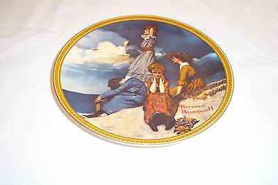 """Norman Rockwell """"Waiting On The Shore"""" Plate with C.O.A. and box"""