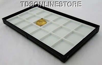 Stackable Black Aluminum 18 Slot Pocket Watch Jewelry Display Tray White
