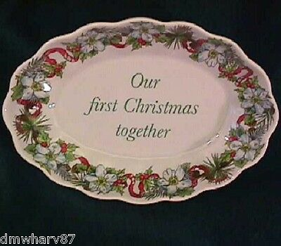 """SPODE HOLIDAYS - Oval Tray CANDY / NUT Dish """"OUR FIRST CHRISTMAS TOGETHER"""" NIB!"""