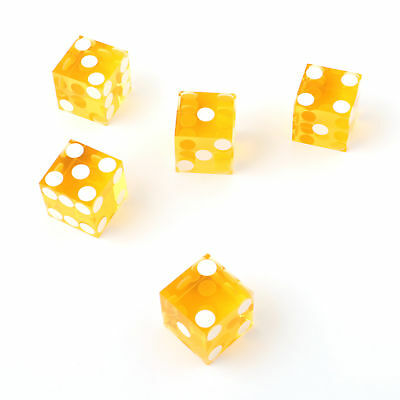 Yellow Casino Craps Dice 19mm Grade Set of 5 Razor Edge Stick