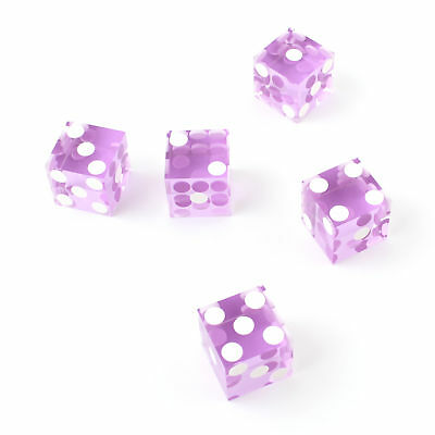 Purple Casino Craps Dice 19mm Grade Set of 5 Razor Edge Stick