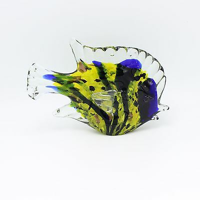 "New 7"" Hand Blown Art Glass Butterfly Fish Figurine Sculpture Statue Yellow Blue"