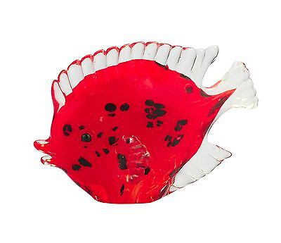 "New 7"" Hand Blown Art Glass Fish Figurine Sculpture Statue Red Black Clear"