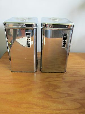 Lincoln BeautyWare Vintage Canister Set  Chrome Flour & Sugar glass handle Retro