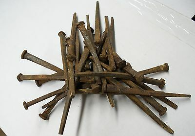 """12 lbs (approx 240)  ANTIQUE WROUGHT IRON (1800'S) SQUARE 4.5"""" LONG NAILS"""