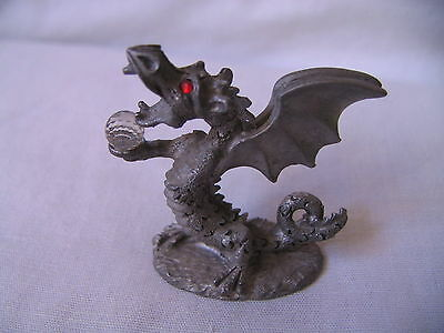 Spoontiques Pewter Red Eyed Dragon Holding Crystal Globe