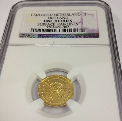 Netherlands 1740 Gold Coin 1 Stuiver Broom Holland NGC Rare