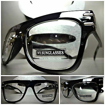 VINTAGE RETRO PARTY RAPPER Clear Lens FASHION EYE GLASSES Cool Thick Black Frame