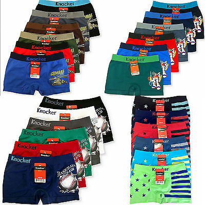 6 pairs Boys Boxer Brief Underwear Seamless Shorts Lot S M L - Choose Pattern !