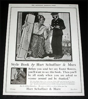 1917 Old Magazine Print Ad, Hart Schaffner & Marx, Easter Flowers Delivery, Art!