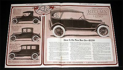 1917 Old Magazine Print Ad, New Reo Six Passenger Touring Car, Refined Improved!