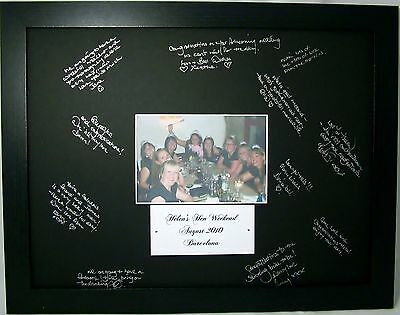 Personalised Hen Night Guest Book Alternative Signing Frame Gift & Metallic Pen!
