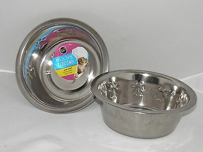 2x Cat / Dog Anti-slip Stainless Steel Embossed Bowl / Bowls 0.75L