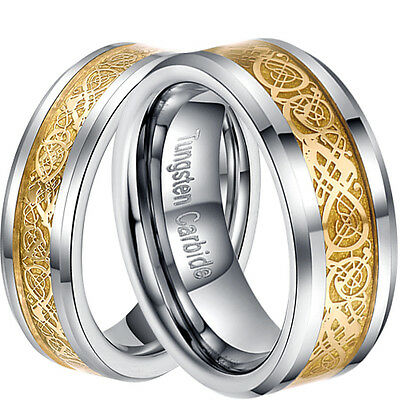 6/8mm Tungsten Carbide Gold Celtic Dragon Inlay Men's Ring Wedding Band Sz 6-13