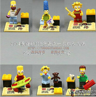 6 Sets Minifigures The Simpsons Building Toys Homer Lisa Maggie Blocks Toy AS1
