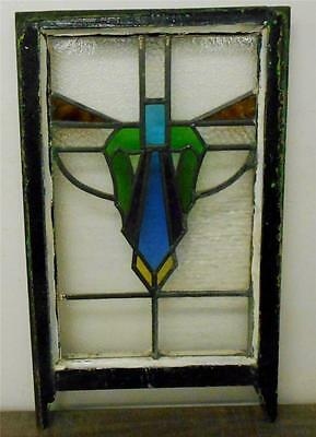 "EDWARDIAN ENGLISH LEADED STAINED GLASS  SASH WINDOW Abstract Design 16"" x 23.75"""